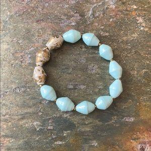 Beljoy blue and gold beaded bracelet.